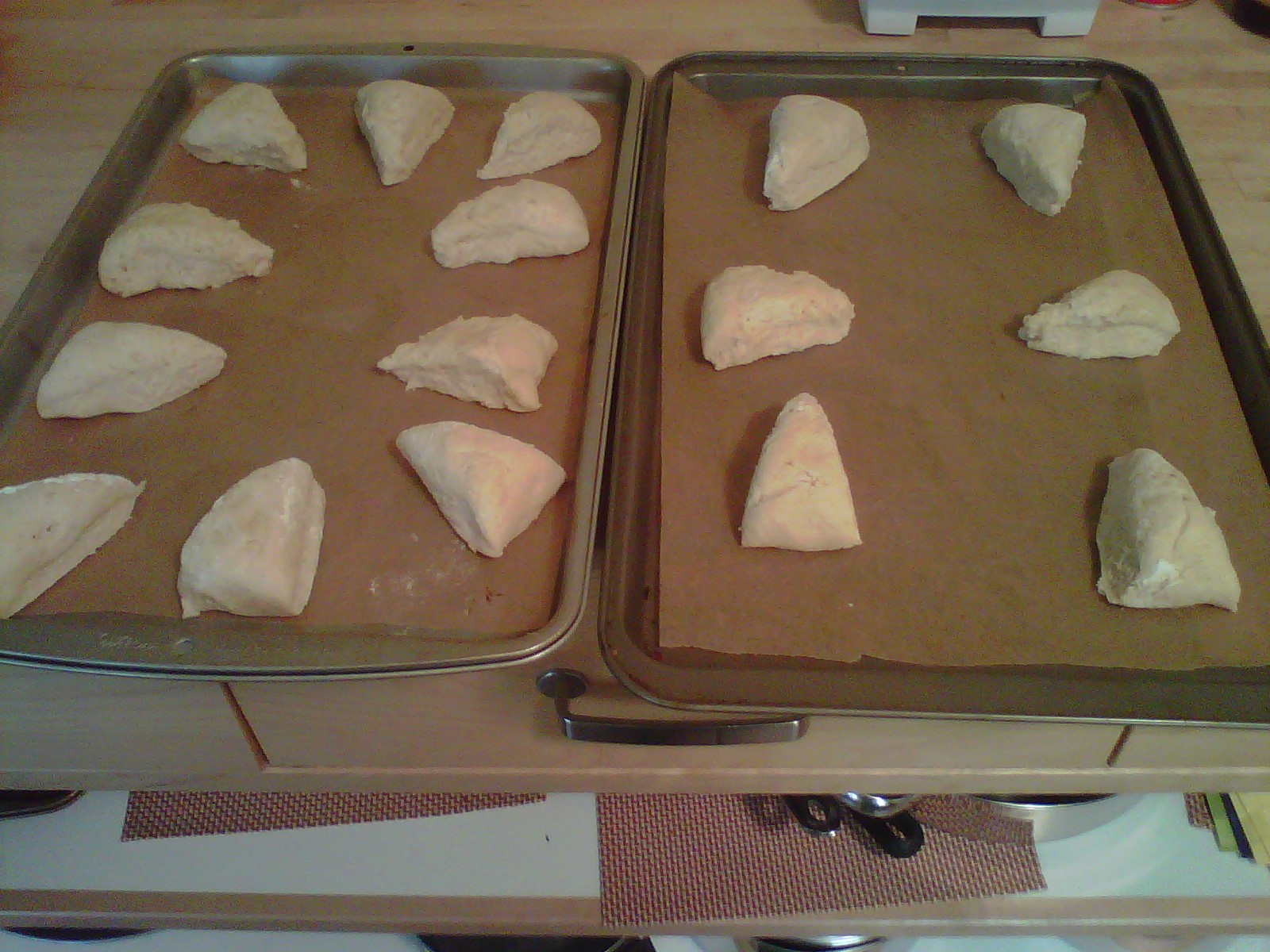 Wedges ready for baking