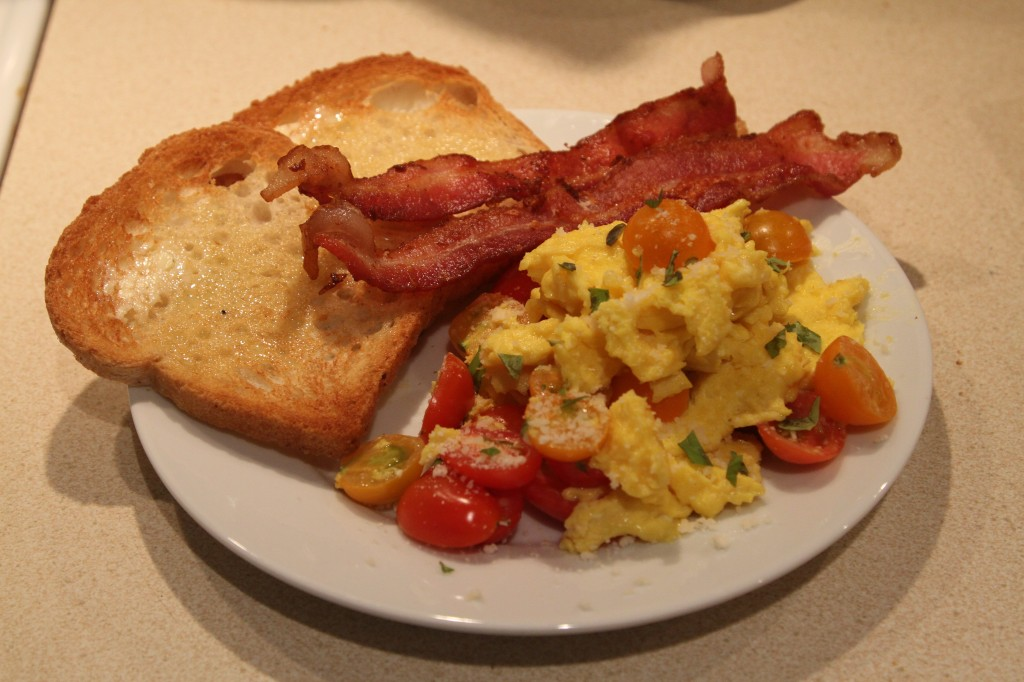 Farmer's Market Cherry Tomato Basil Eggs, Ottomanelli Smoked Bacon with Toast